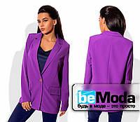 Удобный женский пиджак без подклада из костюмки сиревый