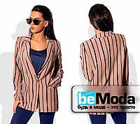 Удобный женский пиджак без подклада из костюмки в оригинальную полоску коричневый