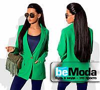 Удобный женский пиджак без подклада из костюмки зеленый