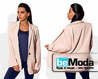 Удобный женский пиджак без подклада из костюмки розовый