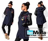 Оригинальная женская куртка из плащевки с бархатным напылением и рукавами из экокожи черная