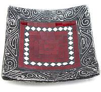 Блюдо терракотовое с красной мозаикой (20,5х20,5х6 см)