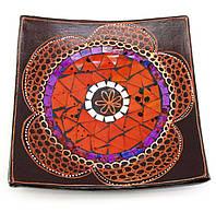 Блюдо терракотовое с мозаикой 19х19х4см (29684B)