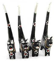 Кошки деревянные кольцедержатели черные набор 4шт 15,5х5,5х2см цена за набор (30609)