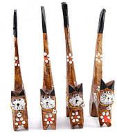 Кошки деревянные кольцедержатели коричневые набор 4шт 15,5х5,5х2см цена за набор (30609A)