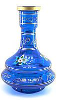 Колба для кальяна стекло синяя 26х18х18см внутренний d-4,5см (30608B)