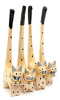 """Кошки деревянные кольцедержатели """"дерево"""" набор 4шт 15,5х5,5х2см цена за набор (30609B)"""