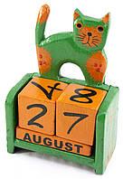 """Календарь настольный """"Кот"""" дерево зеленый 14,5х10х5,5см (24336A)"""