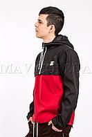 Мужской анорак спортивный черно-красный Ястреб