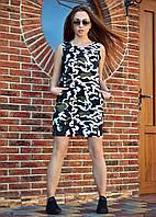 Модное платье сарафан с карманами из тонкого джинса принт милитари камуфляж