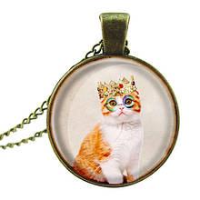 Необычный круглый кулон с цепочкой Кот Король