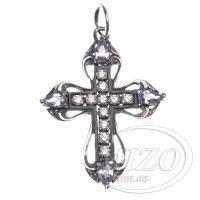 Серебряный крестик с фиолетовыми камнями