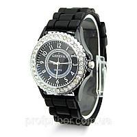 Женские наручные силиконовые часы Geneva с камнями, Часы женские GENEVA ЖЕНЕВА со стразами Черные