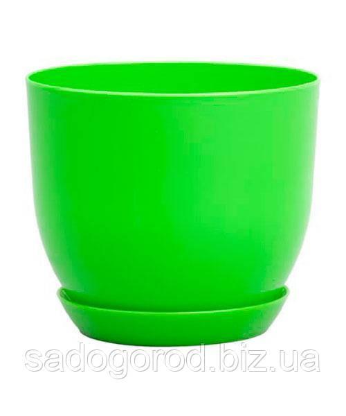 """Горшок для цветов """"Классик"""" 160 мм с подставкой, объем 1,9 л, 160*90*130 мм, зеленый"""