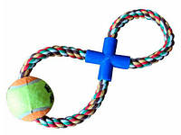 Игрушка для собак канат грейфер Восьмерка с мячом 2-4, Д-7 см, 30 см
