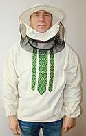 Куртка пчеловода бязь белая с маской р. 58-60