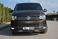 Volkswagen T6 2015+ гг. Накладка на передний бампер Sport 2-LED (под покраску)