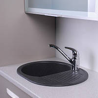 Гранитная мойка для кухни Fancy Marble Yuta 620x470x190 (Черный)
