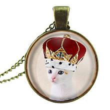 Круглый кулон женский с цепочкой Кошка Королева