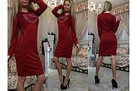 Богатое платье футляр из красивой трикотажной ангоры, стразы и шипы