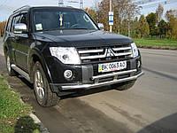 Защита переднего бампера двойная на Mitsubishi Pajero Wagon IV