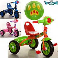 Детский трехколесный велосипед  Bambi M 3170-1 Зеленый с корзинкой и музыкальными эффектами