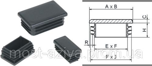 ЗАГЛУШКИ 40Х20 прямоугольные внутренние пластиковые, заглушка 20х40 для трубы