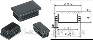 ЗАГЛУШКИ 60х40 прямоугольные внутренние пластиковые, заглушка 40х60