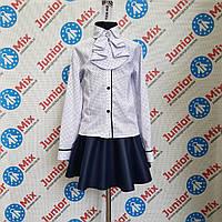 Блузка школьная на длинный рукав в горошек со съёмным жабо TERKO