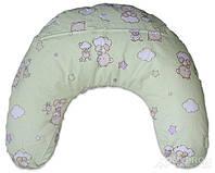 Подушка Лежебока для кормления с рисунком «Звёздочки на салатовом»