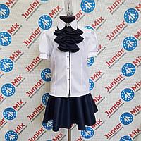 Девочковая хебешная  школьная  блузка  со съёмным жабо  Tonasz