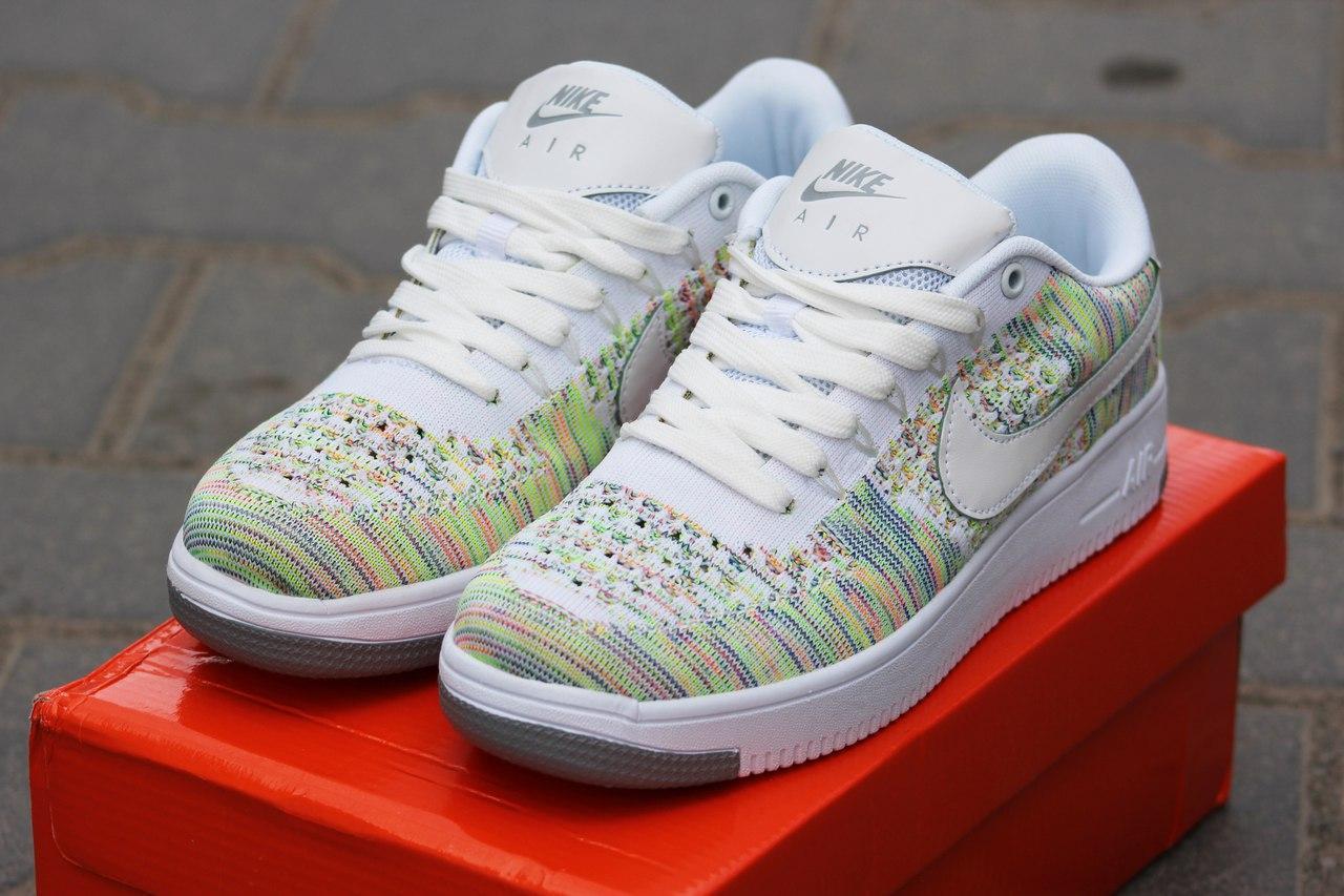 Летние женские кроссовки Nike air Force текстиль,белые с зеленым 39р