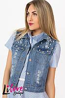 Женская джинсовая жилетка №43-268