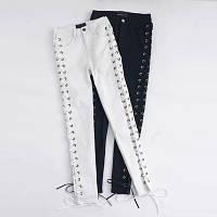 Стильные джинсы на шнуровке, фото 1