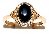 Кольцо  фирмы Xuping. Цвет: позолота.Камни: белый циркон и гагат. Ширина кольца: 1 см. Есть  16 р. 17р.