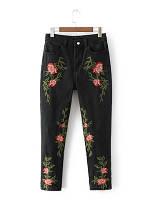 Черные джинсы с вышивкой, фото 1