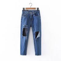 Рваные джинсы с сеткой, фото 1