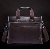 Стильная мужская сумка Polo. Коричневая