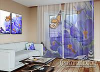"""Фото тюль """"Бабочки и крокусы"""" (2,5м*4,5м, на длину карниза 3,0м)"""