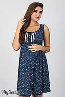 Легкий сарафан для беременных и кормящих Bianka, мелкий цветочек на синем*