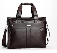 Стильная мужская сумка-портфель. Коричневая
