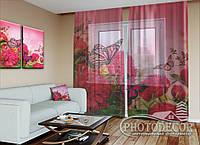 """ФотоТюль """"Бабочки и розовые пионы"""" (2,5м*3,0м, на длину карниза 2,0м)"""