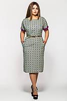 Летнее платье большие размеры Дэниз васаби