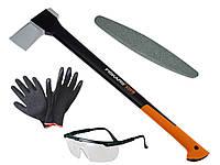 Топор Fiskars X25 + точило + защитные очки + перчатки