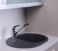 Гранитная кухонная мойка 62 см Fancy Marble Yuta светло-черная