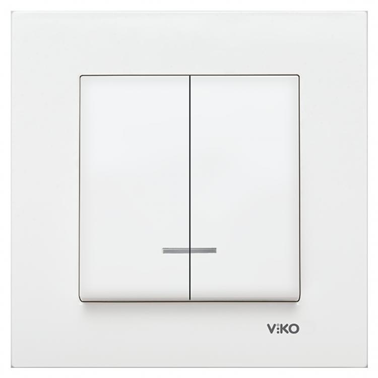 VIKO Karre Выключатель 2-х клавишный с подсветкой  Белый (90960050)