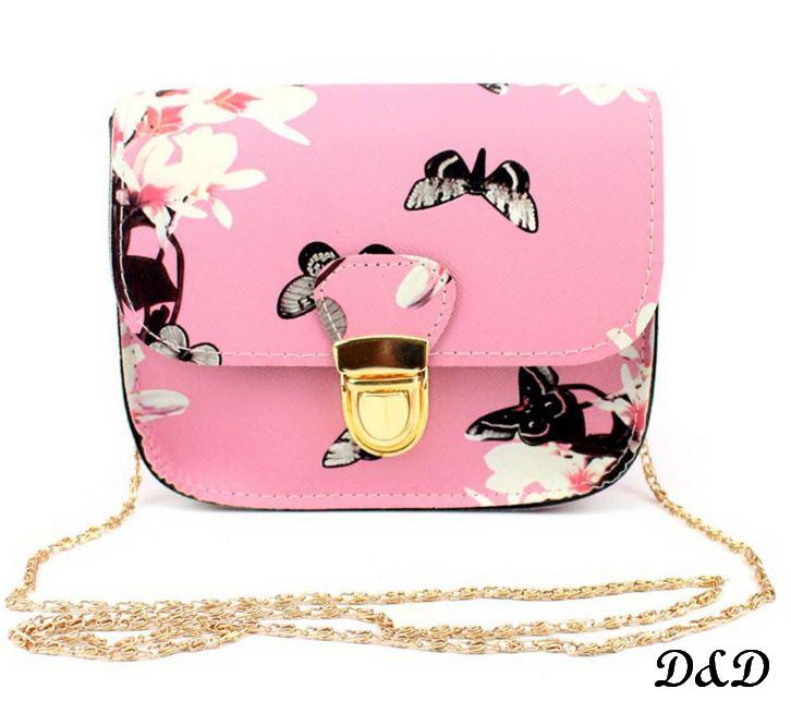 """Женская сумка """"Бабочки"""" розовая"""
