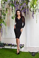 Платье с V-образным вырезом спереди, цвета, черное, все размеры, другие цвета