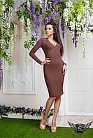 Платье с V-образным вырезом спереди, цвета коричневое, все размеры, другие цвета