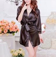 Женский чёрный халат размер S